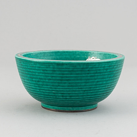 Wilhelm kåge, 'argenta' stoneware bowl, gustavsberg.