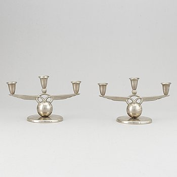 A pair of pewter candelabra, L &  L, Svenskt Tenn, 1938.