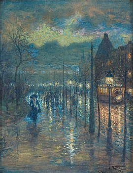 506. Erik Tryggelin, Street scene from Stockholm with pedestrians at night.
