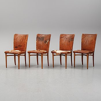 Elias Svedberg, Four leather chairs, Nordiska Kompaniet omkring 1937.