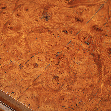 A swedish burr birch veneered coffee table, 1930's.