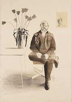 """436. David Hockney, """"Henry seated with tulips""""."""