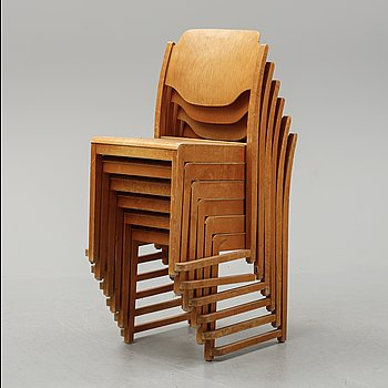 Six stackable birch chairs, mid 20th Century.