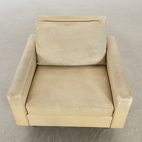 Hans kaufeld armchair, leather, later part of the 20th century.