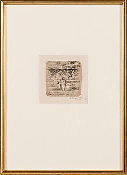 Ellen Thesleff, dry point, signed on plate and signed and dated-02 in pencil.