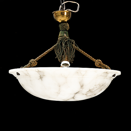 An alabaster ceiling lamp for one light bulb. !920s-1930s.