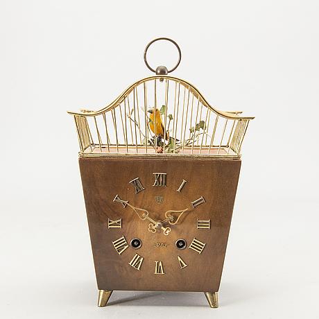 "Table clock, e. scheckenbecher, ""singing birdcage cuckoo clock""."