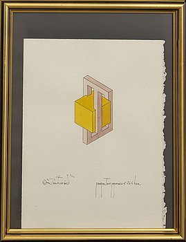 Oscar Reutersvärd, ink and watercolor, signed.