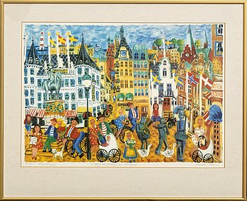 Gunilla Mann, Gunilla Mann, color lithograph signed and numbered 251/360.