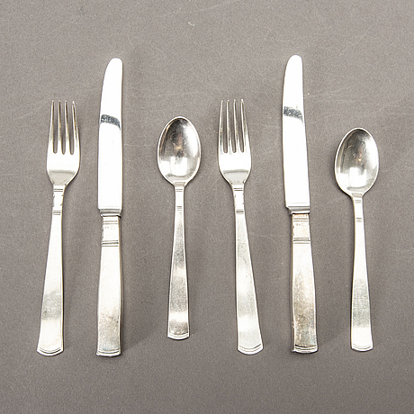 A swedish 20th set of 36 pcs silver cutlery mark of j ängman gab stockholm 1690/70s, weight ca 980 gr.