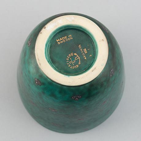 Wilhelm kåge, five 'argenta' stoneware pieces, gustavsberg.