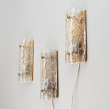 Carl Fagerlund, three glass wall lights, Orrefors.