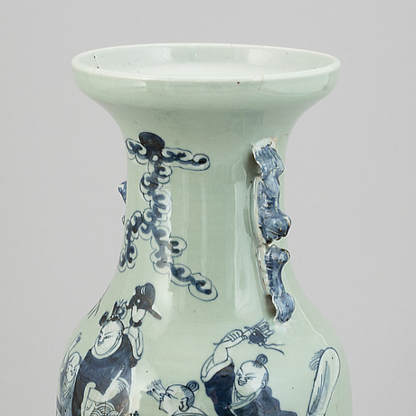 A pair of chinese blue and white and celadon ground vases, 20th century.