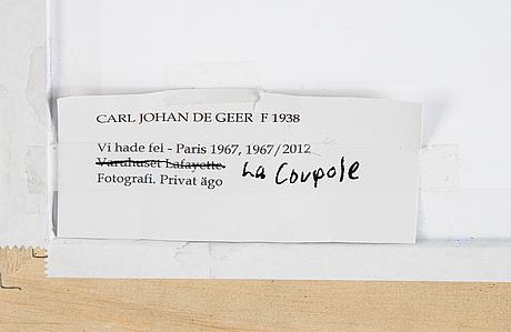 Carl johan de geer, fotografi, signerat 1/3.