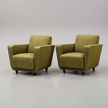 A pair of easy chairs, 1930s-40s.