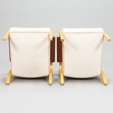 Alvar aalto, a pair of late 20th century '47' armchairs for artek.