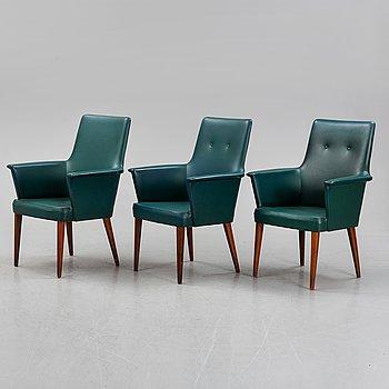 Three armchairs by Anonima Castelli, Italy, 1950's.