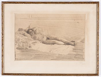 Anders Zorn, etching 1913-14, signed in pencil.