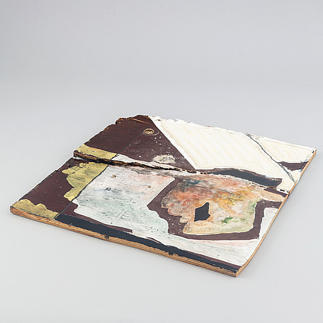 Max mikael book, mixed media on plywood, signed and dated 1985 verso.