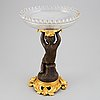 A french bronze and glass tazza, signed daubrée, second half of the 19th century.