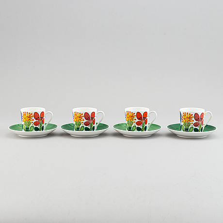 Stig lindberg, a set of four coffee cups model 'tahiti, gustavsberg.