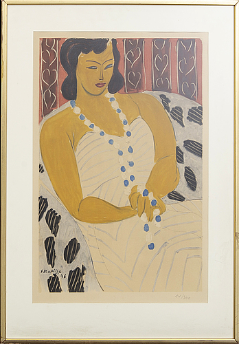 Henri matisse, after, a color lithograph ' femme a la robe blanche' signed in the print h matisse 46, 14/300.