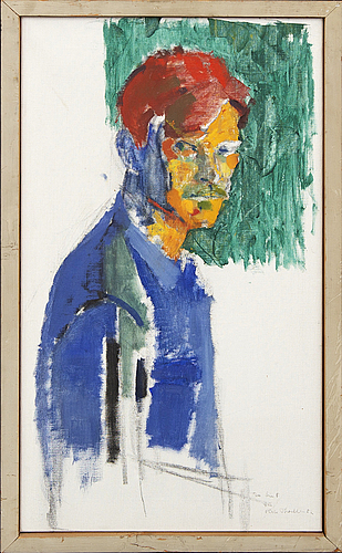 Pär thorell, oil on canvas, self portrait, signed and dated -52.