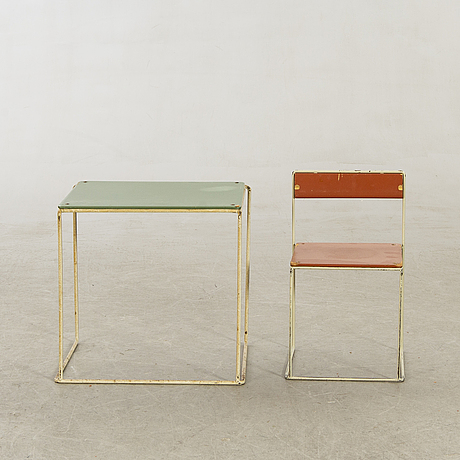 """Nils strinning, children's table and chair, """"string""""."""