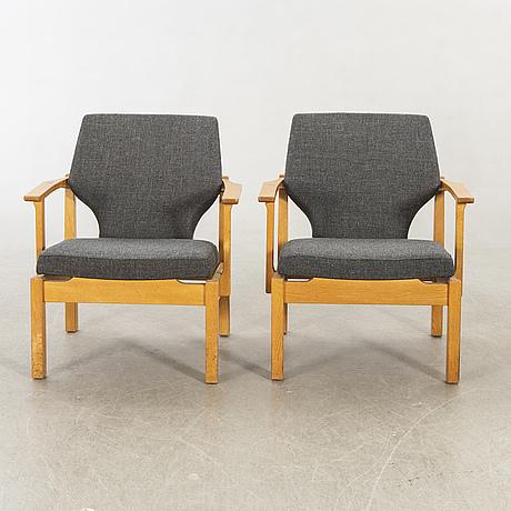 Armchairs, 1960s, oak.