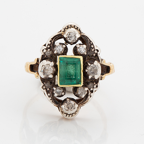 Emerald and old-cut diamond ring.