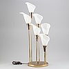 A 20th century brass and plastic table lamp.