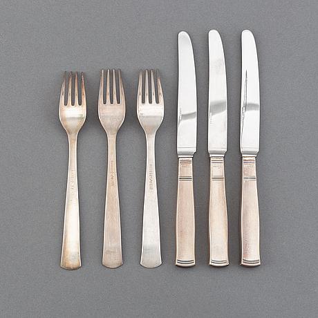"A set of 36 pcs of silver cutlery ""rosenholm"" by jacob ängman, gab 1970."