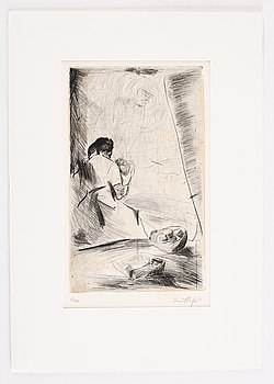Evert Lundquist, etching. Signed and numbered 6/50.