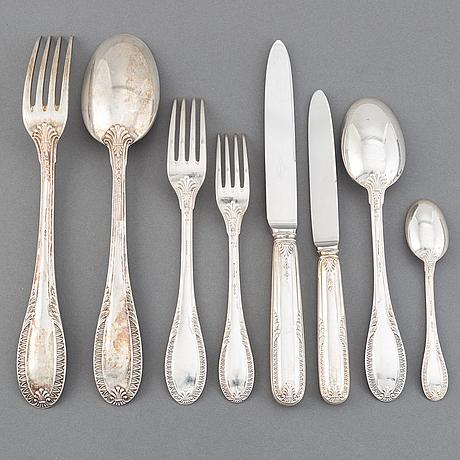 An italian 20th century set of silver cutlery, marked sa caldironi.