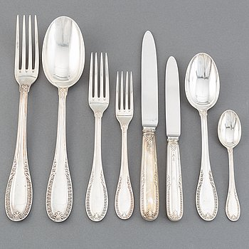 An Italian 20th century set of silver cutlery, marked SA Caldironi.