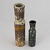 Hans hedberg, two ceramic vases, biot, france, signed.