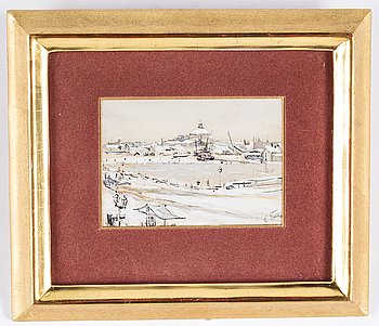 Eugen Taube, watercolor, signed.