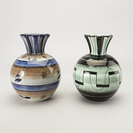 Ilse claesson, a set of five vases and bowls mid 1900s.