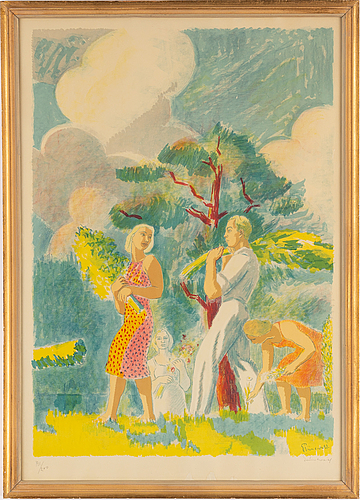 Isaac grünewald, lithograph in colours, signed 191/200.