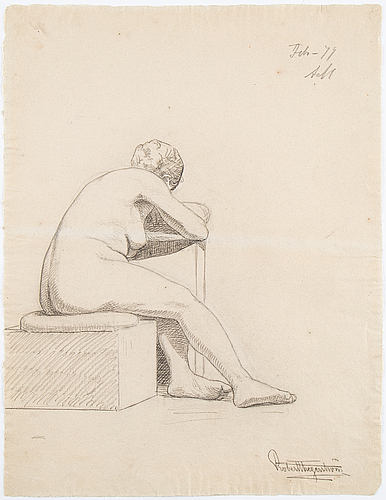 Eight signed and dated drawings by robert thegerström.