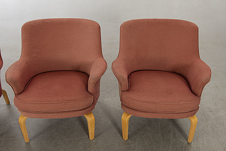 """Arne norell, armchairs, 3 pcs, """"pilot"""", norell möbel ab."""