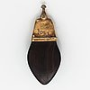 Goudji, brooch, silver, agate and wood.