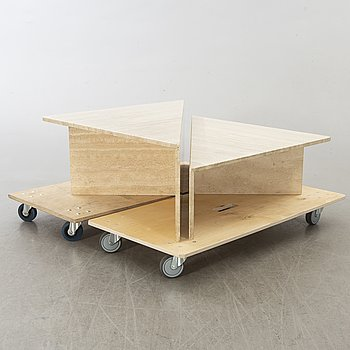 A two part travetin 1970/80s sofa table.