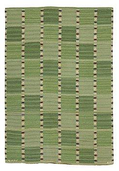 "258. Barbro Nilsson, a carpet, ""Falurutan grön I"", flat weave, ca 241-244,5 x 166 cm, signed AB MMF BN."