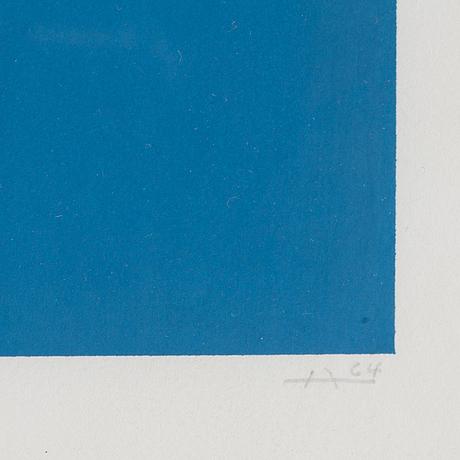 Josef albers, färgserigrafi, signerad, numrerad 20/125 och daterad -64.