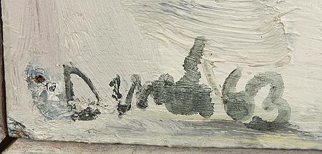 Sten dunér, olja på pannå signerad och daterad 63.