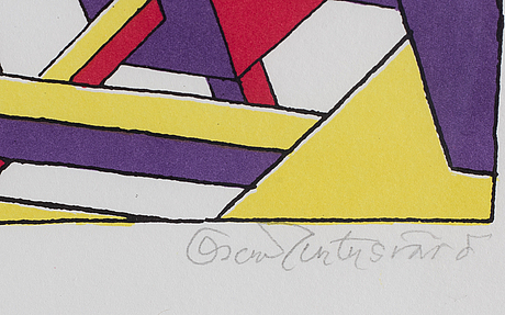 Oscar reutersvärd, lithograph in colours, signed xxii/xxv.