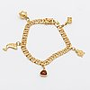 Bracelet, 18k gold with charms, approx 19 x 0,6 cm, 19,6 g, borgings guldsmide göteborg 1962.