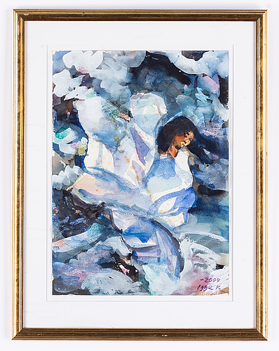 Igge karlsson, watercolour, signed and dated 2000.