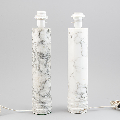 A pair of bergboms marble lamps, second half 1900's.